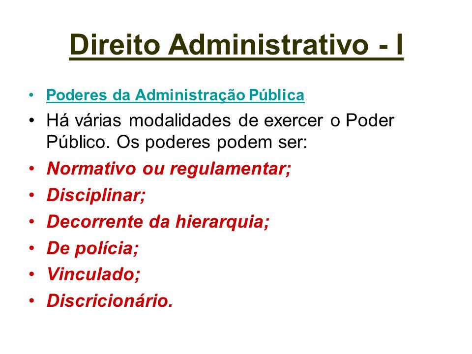 Direito Administrativo - I Poderes da Administração Pública Há várias modalidades de exercer o Poder Público. Os poderes podem ser: Normativo ou regul