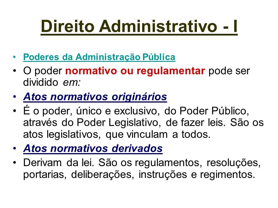 Direito Administrativo - I Poderes da Administração Pública O poder normativo ou regulamentar pode ser dividido em: Atos normativos originários É o po