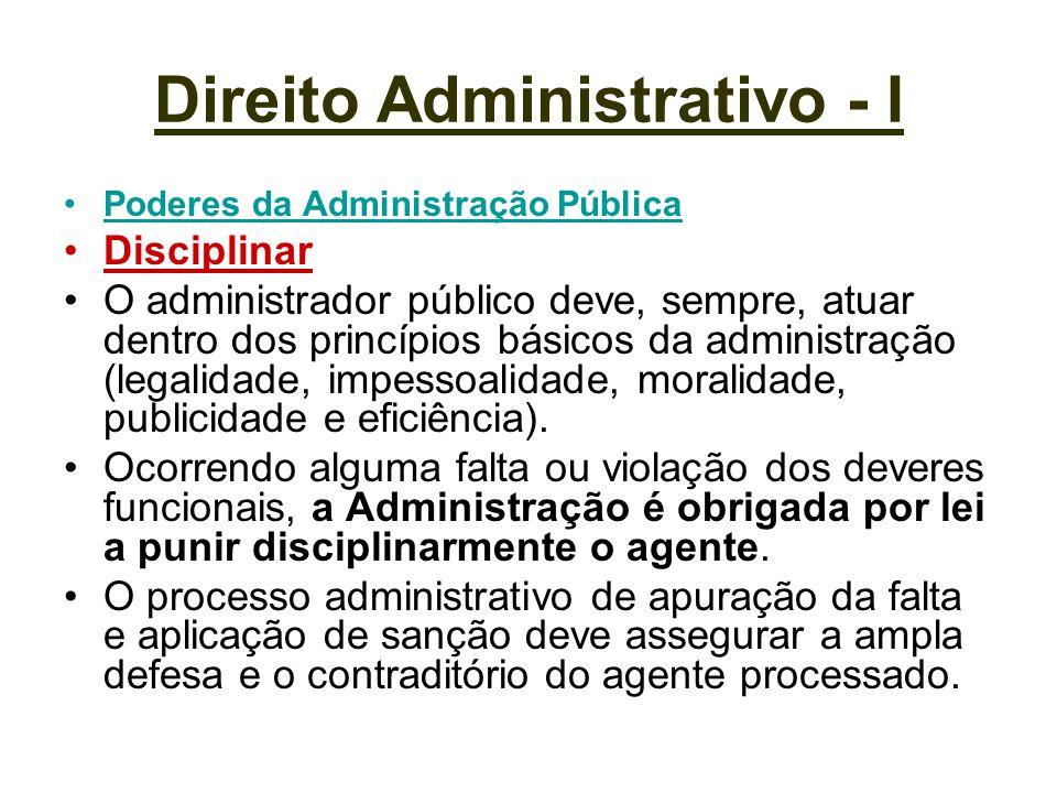 Direito Administrativo - I Poderes da Administração Pública Disciplinar O administrador público deve, sempre, atuar dentro dos princípios básicos da a