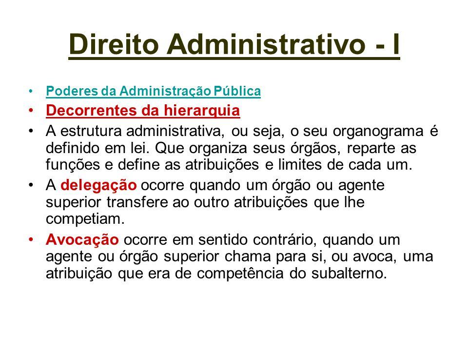 Direito Administrativo - I Poderes da Administração Pública Decorrentes da hierarquia A estrutura administrativa, ou seja, o seu organograma é definid