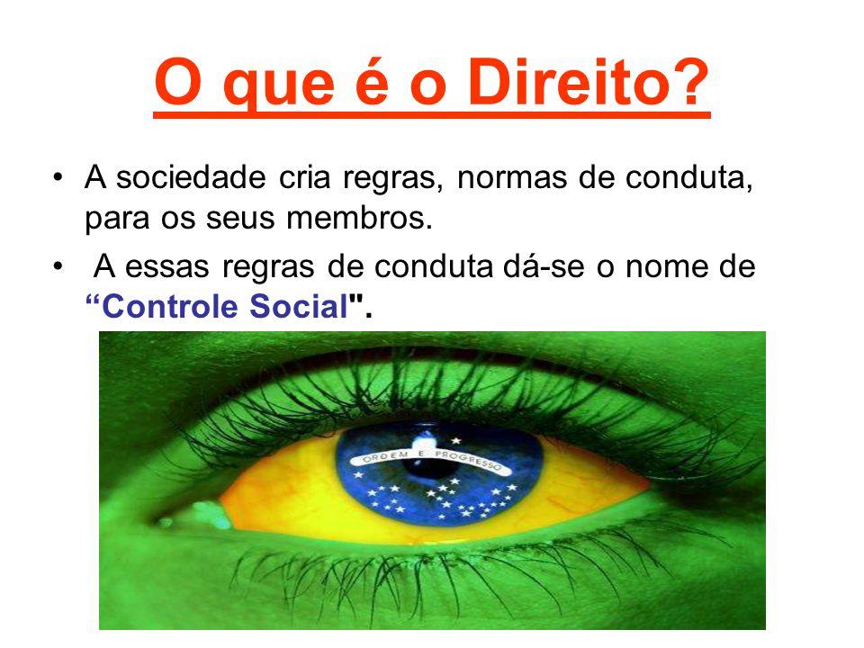 """O que é o Direito? A sociedade cria regras, normas de conduta, para os seus membros. A essas regras de conduta dá-se o nome de """"Controle Social"""