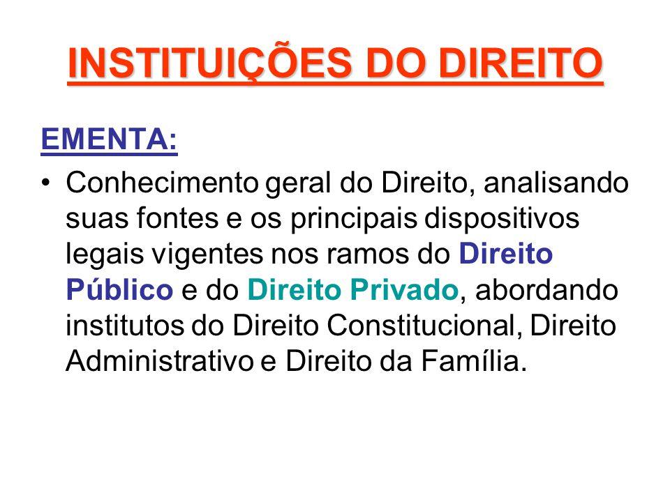 INSTITUIÇÕES DO DIREITO EMENTA: Conhecimento geral do Direito, analisando suas fontes e os principais dispositivos legais vigentes nos ramos do Direit