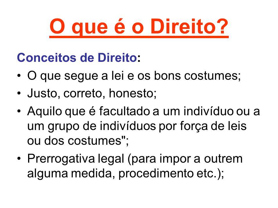 O que é o Direito? Conceitos de Direito: O que segue a lei e os bons costumes; Justo, correto, honesto; Aquilo que é facultado a um indivíduo ou a um