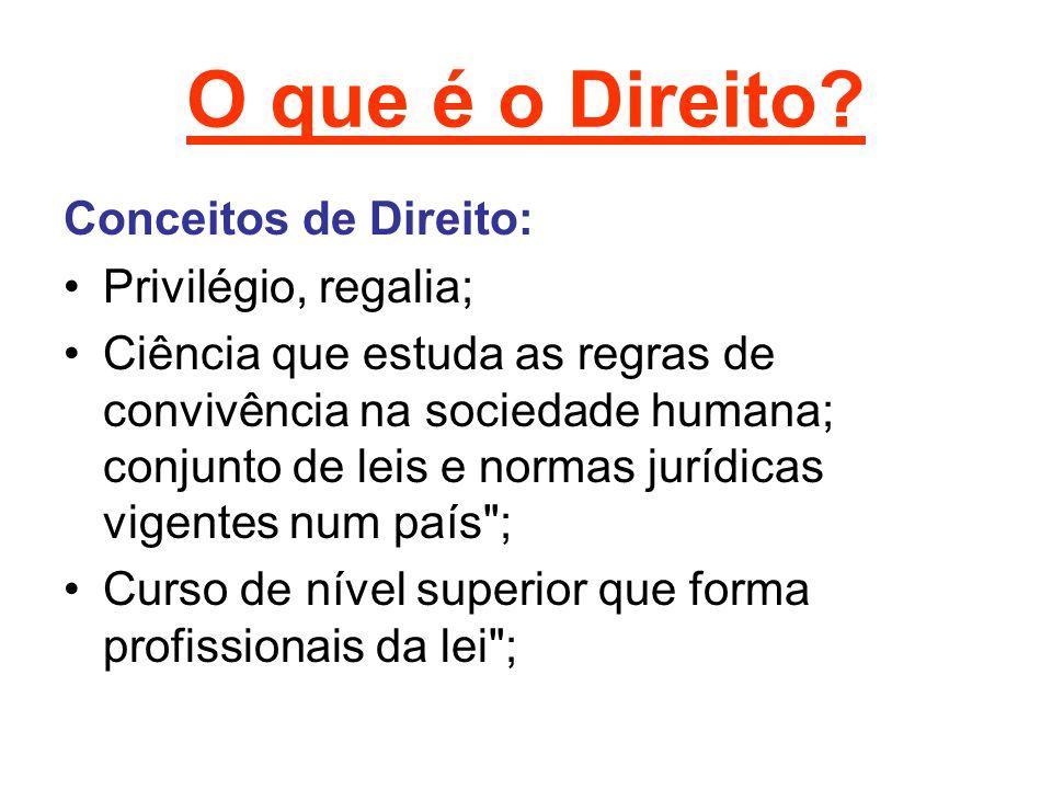 O que é o Direito? Conceitos de Direito: Privilégio, regalia; Ciência que estuda as regras de convivência na sociedade humana; conjunto de leis e norm