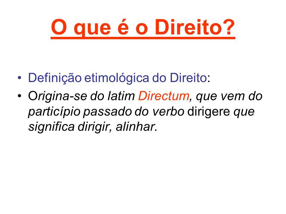 O que é o Direito? Definição etimológica do Direito: Origina-se do latim Directum, que vem do particípio passado do verbo dirigere que significa dirig