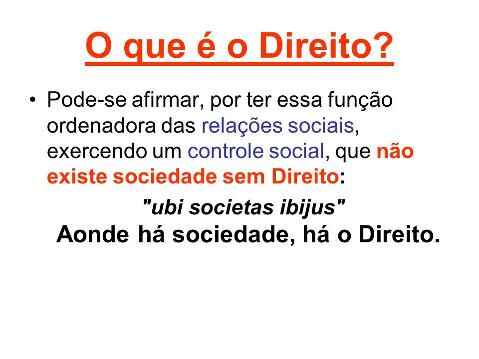 O que é o Direito? Pode-se afirmar, por ter essa função ordenadora das relações sociais, exercendo um controle social, que não existe sociedade sem Di