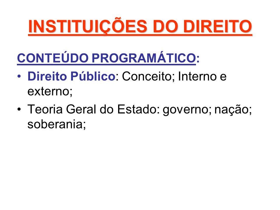 INSTITUIÇÕES DO DIREITO CONTEÚDO PROGRAMÁTICO: Direito Público: Conceito; Interno e externo; Teoria Geral do Estado: governo; nação; soberania;