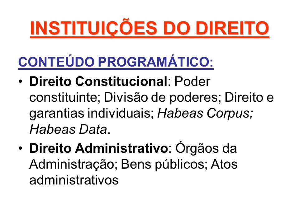 INSTITUIÇÕES DO DIREITO CONTEÚDO PROGRAMÁTICO: Direito Constitucional: Poder constituinte; Divisão de poderes; Direito e garantias individuais; Habeas