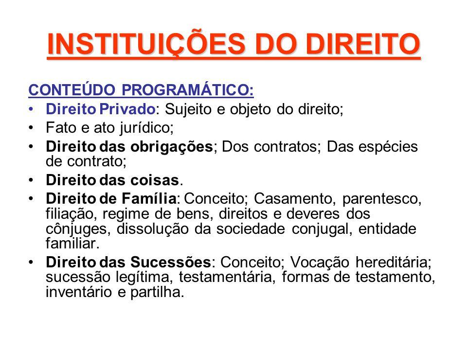 INSTITUIÇÕES DO DIREITO METODOLOGIA DE ENSINO Aula expositiva e participativa.Leitura e exercícios; Trabalhos individuais e em grupo;Debates;Estudo de casos;Avaliações.