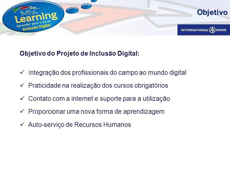 Inclusão Digital Objetivo do Projeto de Inclusão Digital: Integração dos profissionais do campo ao mundo digital Praticidade na realização dos cursos