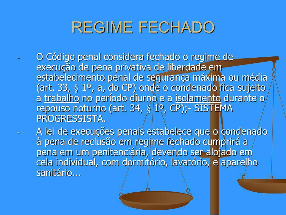 REGIME FECHADO - O Código penal considera fechado o regime de execução de pena privativa de liberdade em estabelecimento penal de segurança máxima ou média (art.