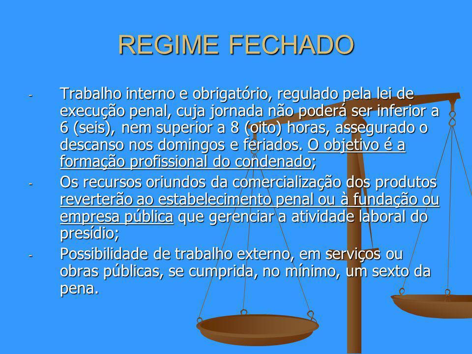 REGIME FECHADO - Trabalho interno e obrigatório, regulado pela lei de execução penal, cuja jornada não poderá ser inferior a 6 (seis), nem superior a 8 (oito) horas, assegurado o descanso nos domingos e feriados.