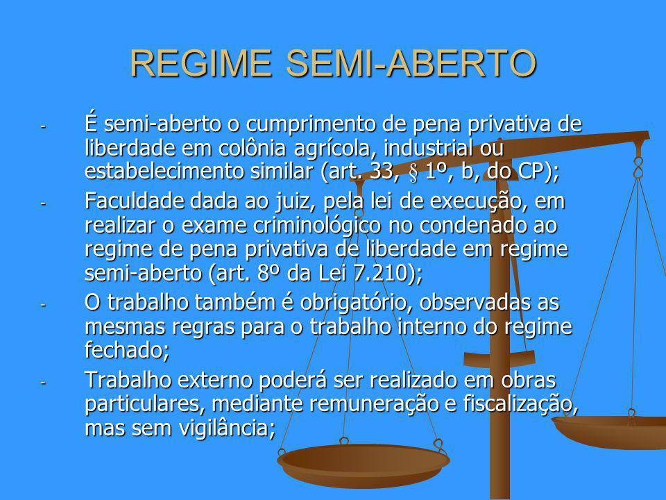 REGIME SEMI-ABERTO - É semi-aberto o cumprimento de pena privativa de liberdade em colônia agrícola, industrial ou estabelecimento similar (art.