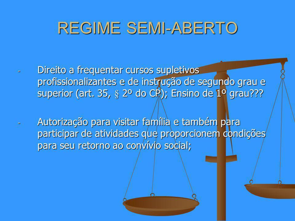 REGIME SEMI-ABERTO - Direito a frequentar cursos supletivos profissionalizantes e de instrução de segundo grau e superior (art.