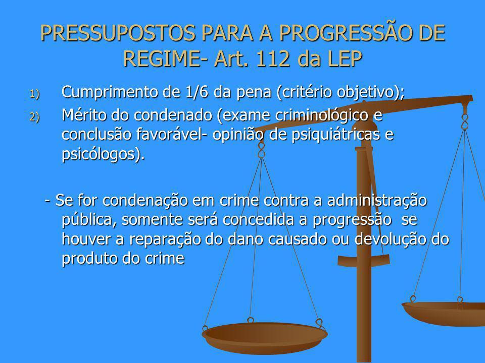 PRESSUPOSTOS PARA A PROGRESSÃO DE REGIME- Art.