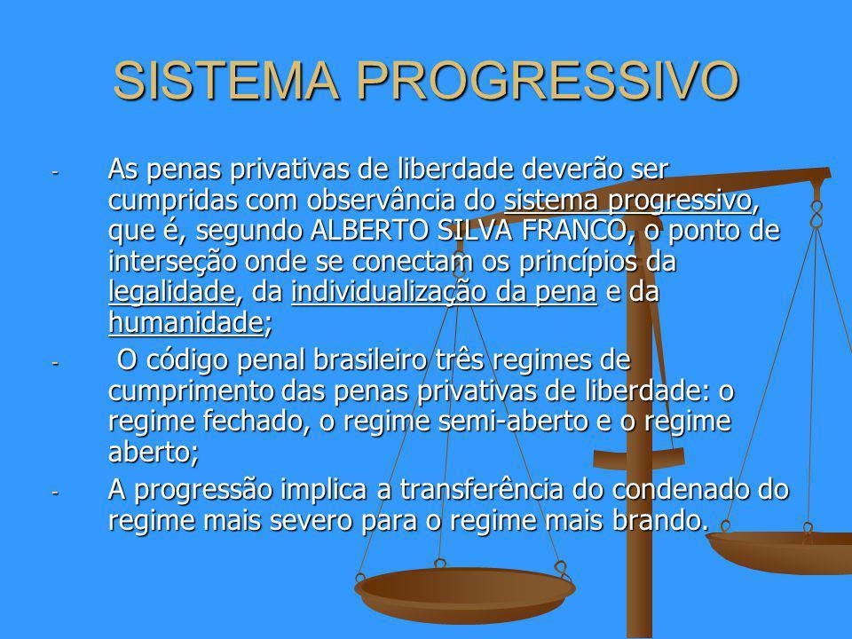 SISTEMA PROGRESSIVO - As penas privativas de liberdade deverão ser cumpridas com observância do sistema progressivo, que é, segundo ALBERTO SILVA FRANCO, o ponto de interseção onde se conectam os princípios da legalidade, da individualização da pena e da humanidade; - O código penal brasileiro três regimes de cumprimento das penas privativas de liberdade: o regime fechado, o regime semi-aberto e o regime aberto; - A progressão implica a transferência do condenado do regime mais severo para o regime mais brando.