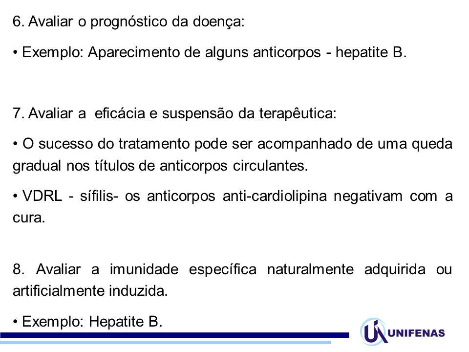 6. Avaliar o prognóstico da doença: Exemplo: Aparecimento de alguns anticorpos - hepatite B. 7. Avaliar a eficácia e suspensão da terapêutica: O suces