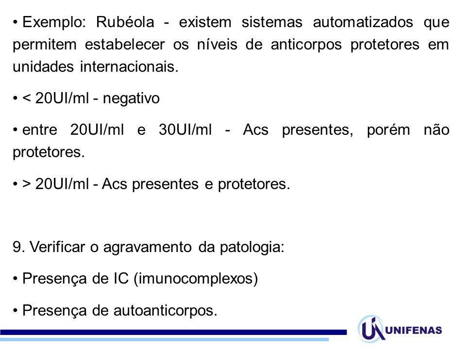 Exemplo: Rubéola - existem sistemas automatizados que permitem estabelecer os níveis de anticorpos protetores em unidades internacionais. < 20UI/ml -