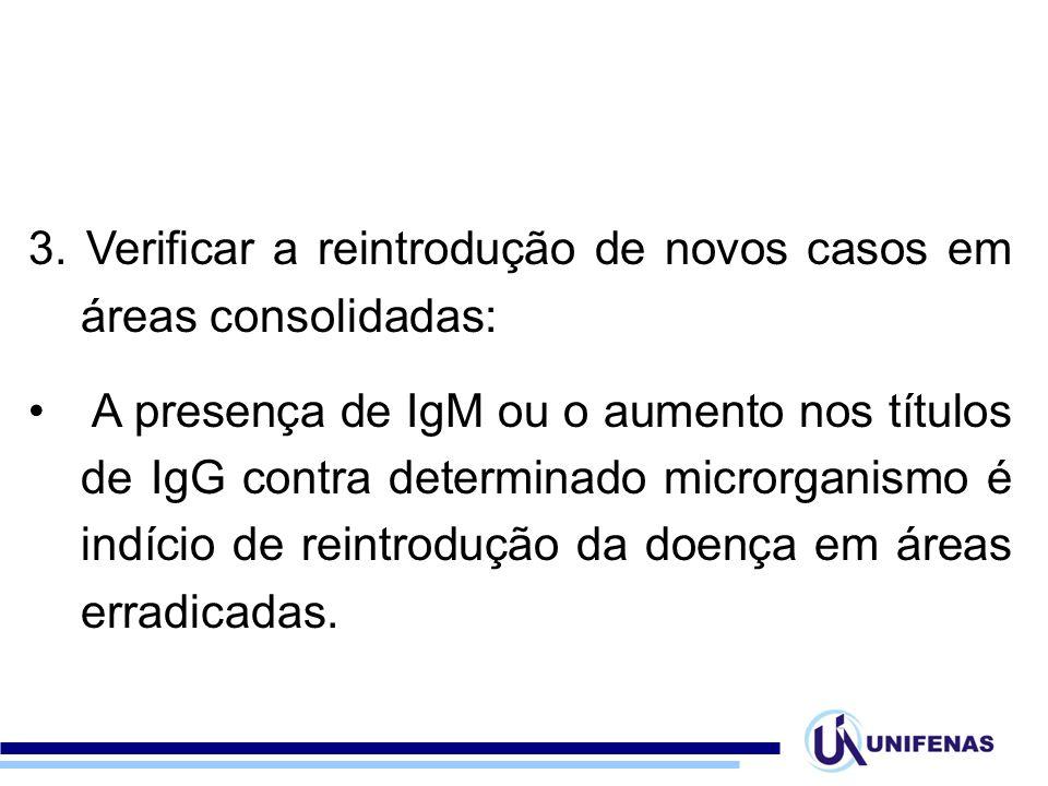3. Verificar a reintrodução de novos casos em áreas consolidadas: A presença de IgM ou o aumento nos títulos de IgG contra determinado microrganismo é
