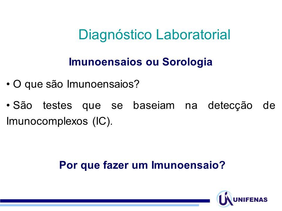 Imunoensaios ou Sorologia Diagnóstico Laboratorial O que são Imunoensaios? São testes que se baseiam na detecção de Imunocomplexos (IC). Por que fazer