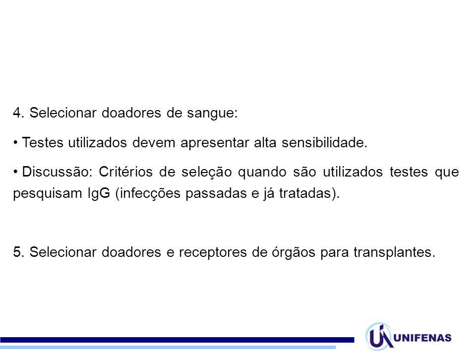 4. Selecionar doadores de sangue: Testes utilizados devem apresentar alta sensibilidade. Discussão: Critérios de seleção quando são utilizados testes