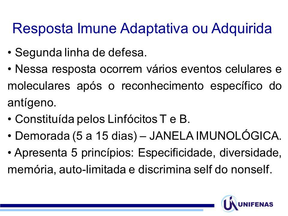 Resposta Imune Adaptativa ou Adquirida Segunda linha de defesa. Nessa resposta ocorrem vários eventos celulares e moleculares após o reconhecimento es
