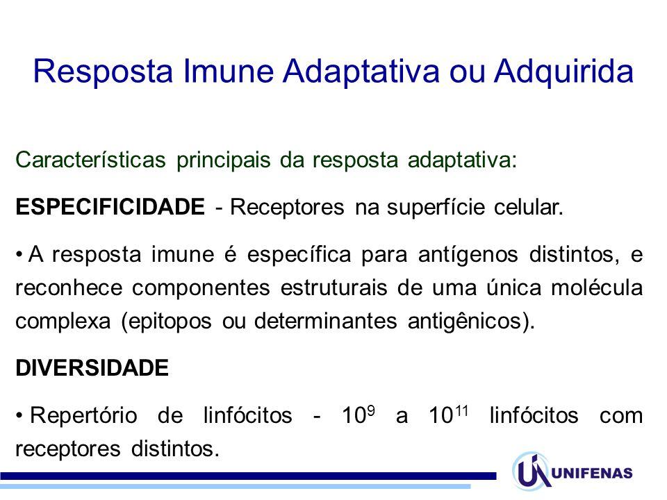 Características principais da resposta adaptativa: ESPECIFICIDADE - Receptores na superfície celular. A resposta imune é específica para antígenos dis