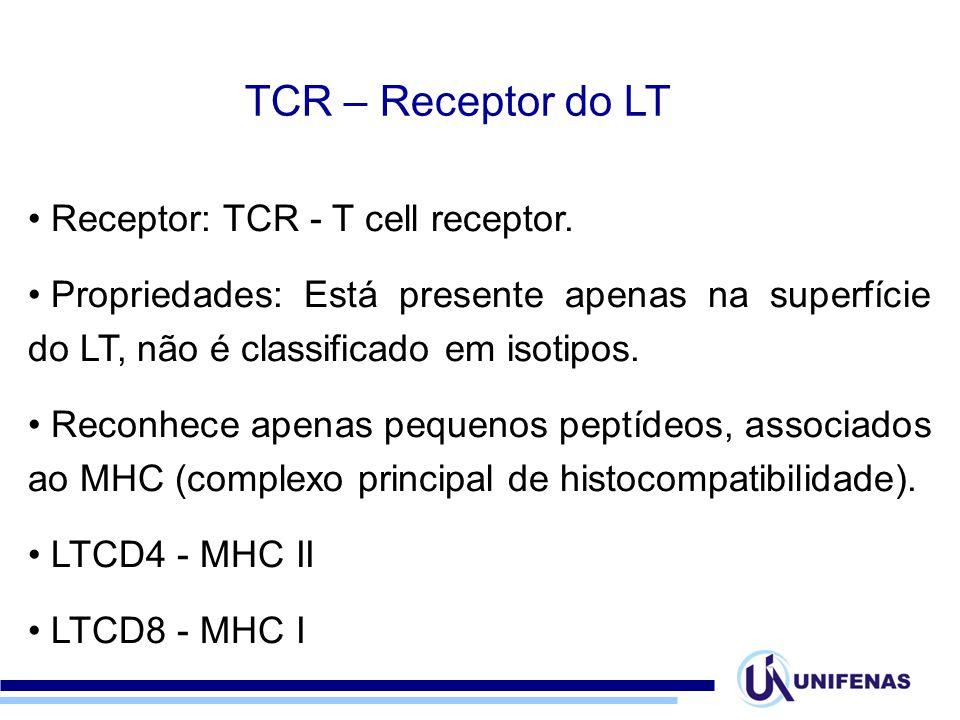 Receptor: TCR - T cell receptor. Propriedades: Está presente apenas na superfície do LT, não é classificado em isotipos. Reconhece apenas pequenos pep