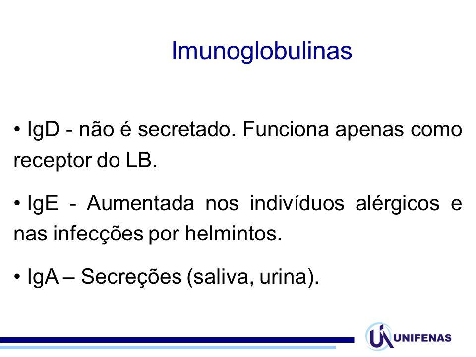 IgD - não é secretado. Funciona apenas como receptor do LB. IgE - Aumentada nos indivíduos alérgicos e nas infecções por helmintos. IgA – Secreções (s