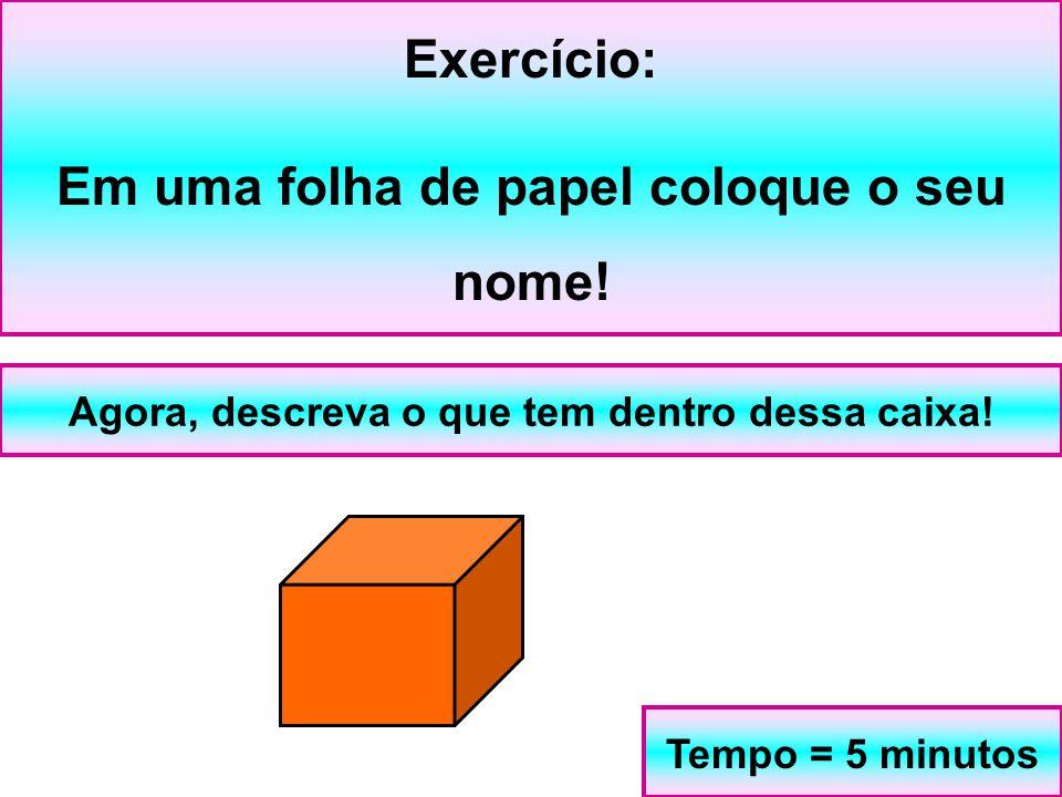 Exercício: Em uma folha de papel coloque o seu nome! Agora, descreva o que tem dentro dessa caixa! Tempo = 5 minutos