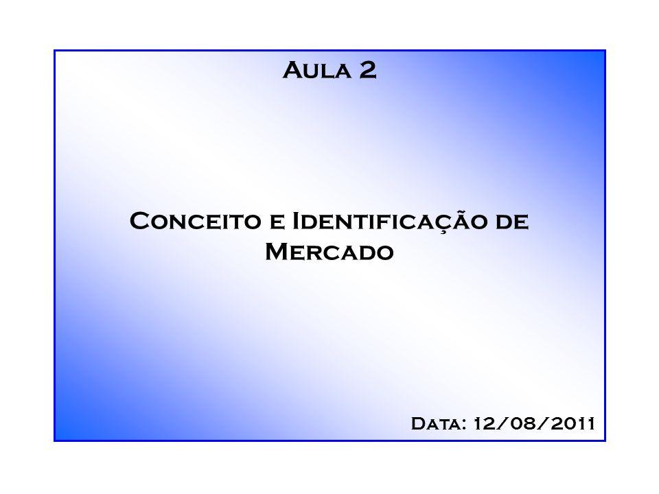 Aula 2 Conceito e Identificação de Mercado Data: 12/08/2011