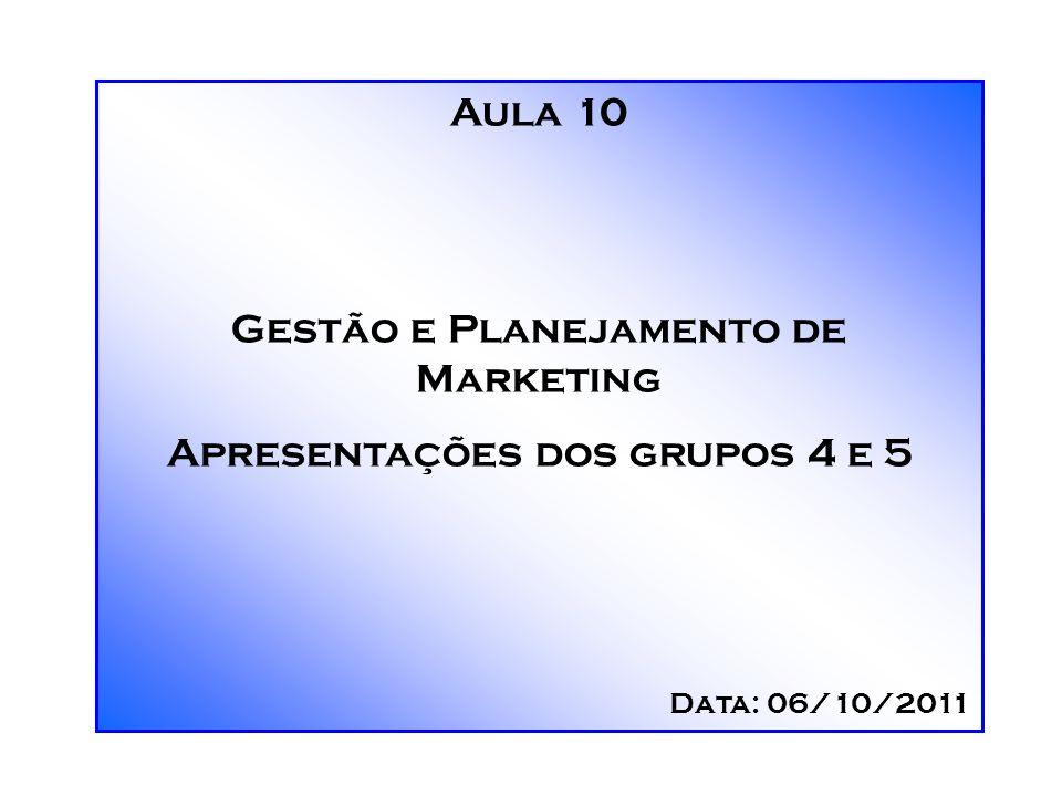 Aula 10 Gestão e Planejamento de Marketing Apresentações dos grupos 4 e 5 Data: 06/10/2011