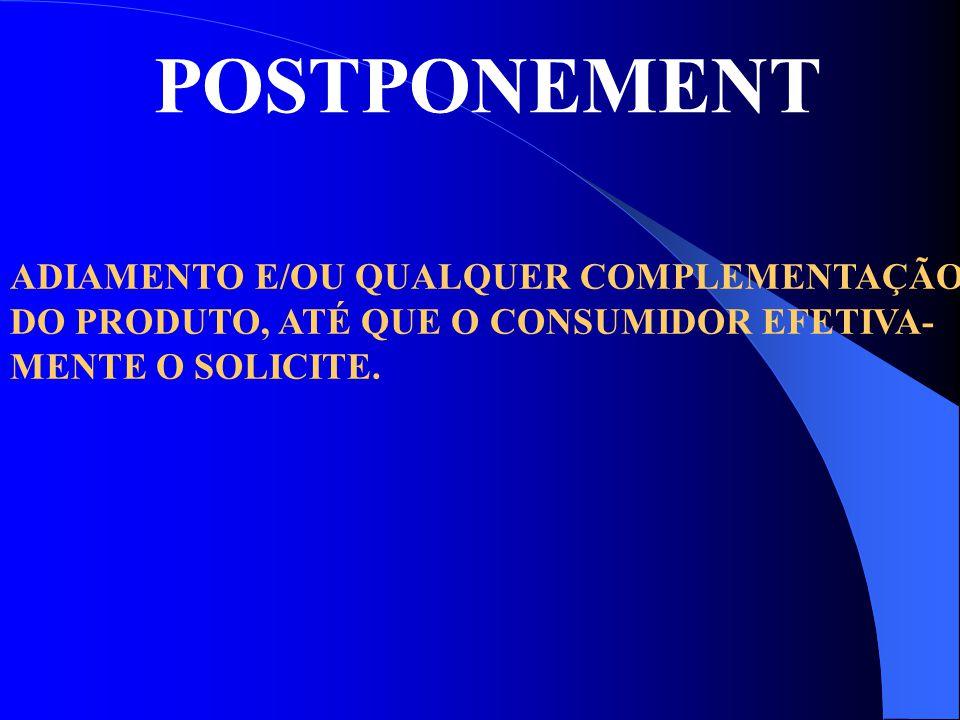 POSTPONEMENT ADIAMENTO E/OU QUALQUER COMPLEMENTAÇÃO DO PRODUTO, ATÉ QUE O CONSUMIDOR EFETIVA- MENTE O SOLICITE.