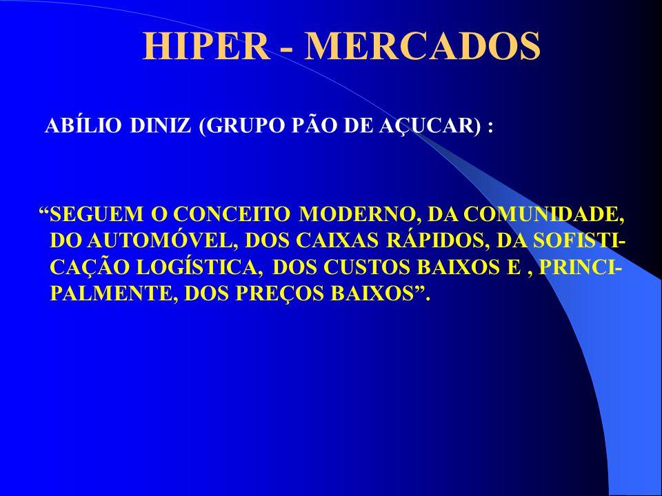 """HIPER - MERCADOS ABÍLIO DINIZ (GRUPO PÃO DE AÇUCAR) : """"SEGUEM O CONCEITO MODERNO, DA COMUNIDADE, DO AUTOMÓVEL, DOS CAIXAS RÁPIDOS, DA SOFISTI- CAÇÃO L"""