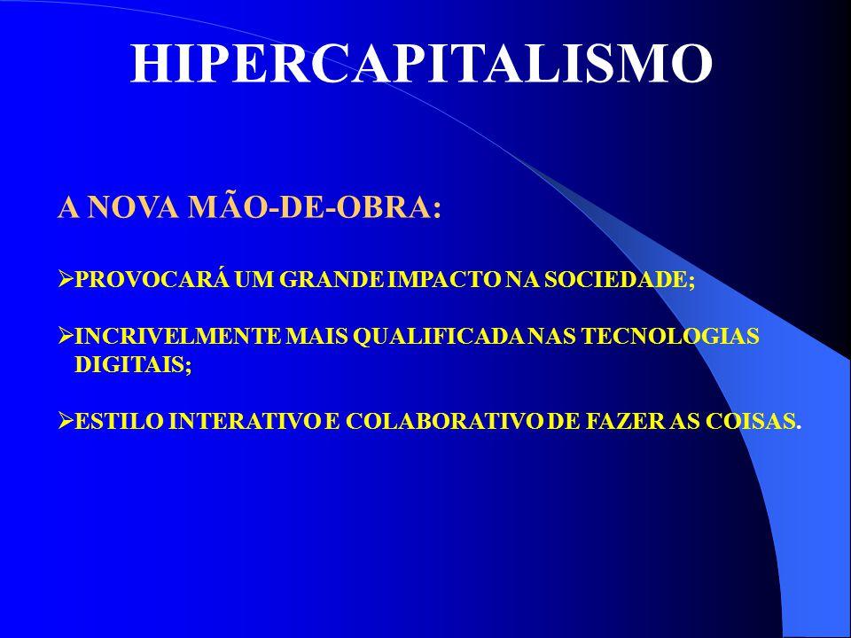 HIPERCAPITALISMO A NOVA MÃO-DE-OBRA:  PROVOCARÁ UM GRANDE IMPACTO NA SOCIEDADE;  INCRIVELMENTE MAIS QUALIFICADA NAS TECNOLOGIAS DIGITAIS;  ESTILO I