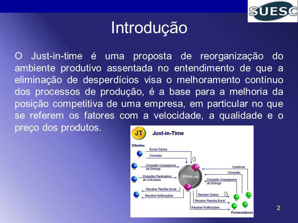 2 Introdução O Just-in-time é uma proposta de reorganização do ambiente produtivo assentada no entendimento de que a eliminação de desperdícios visa o