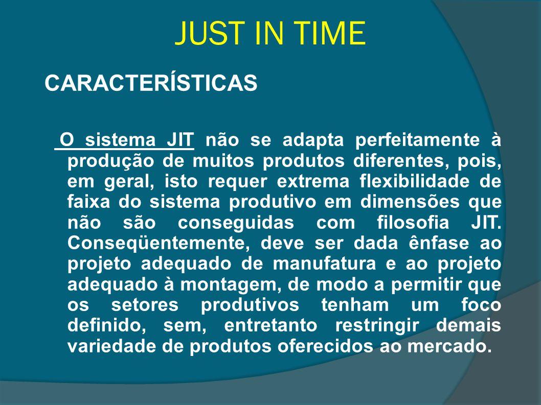 JUST IN TIME CARACTERÍSTICAS O sistema JIT não se adapta perfeitamente à produção de muitos produtos diferentes, pois, em geral, isto requer extrema f