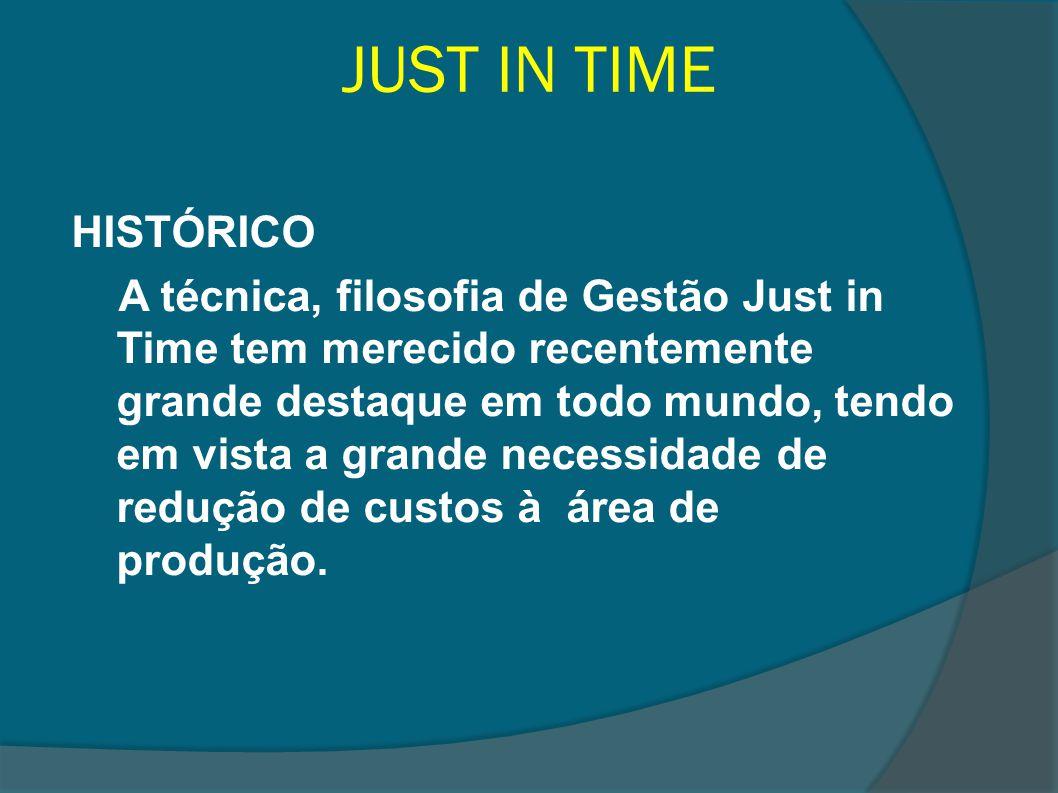 JUST IN TIME HISTÓRICO A técnica, filosofia de Gestão Just in Time tem merecido recentemente grande destaque em todo mundo, tendo em vista a grande ne