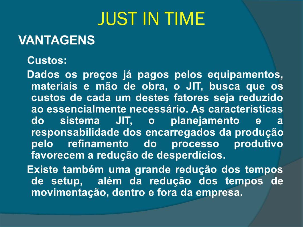 JUST IN TIME VANTAGENS Custos: Dados os preços já pagos pelos equipamentos, materiais e mão de obra, o JIT, busca que os custos de cada um destes fato