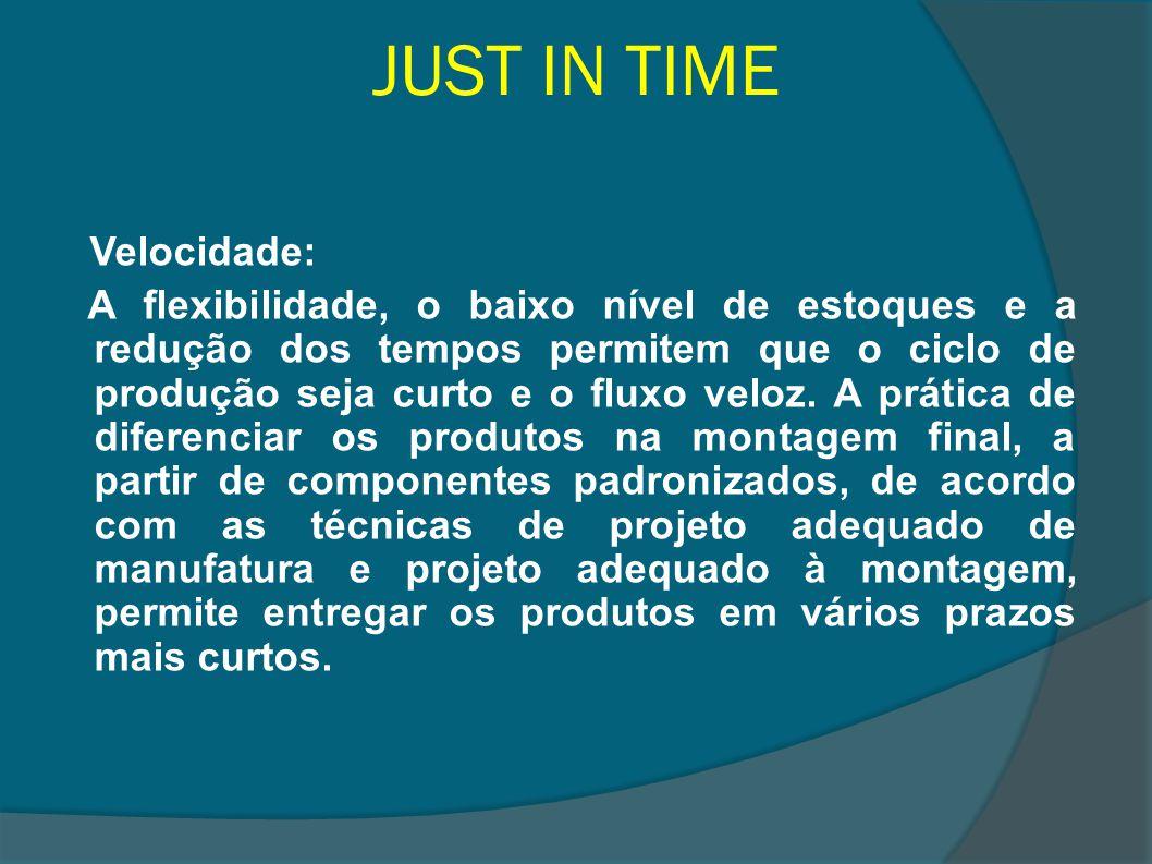 JUST IN TIME Velocidade: A flexibilidade, o baixo nível de estoques e a redução dos tempos permitem que o ciclo de produção seja curto e o fluxo veloz