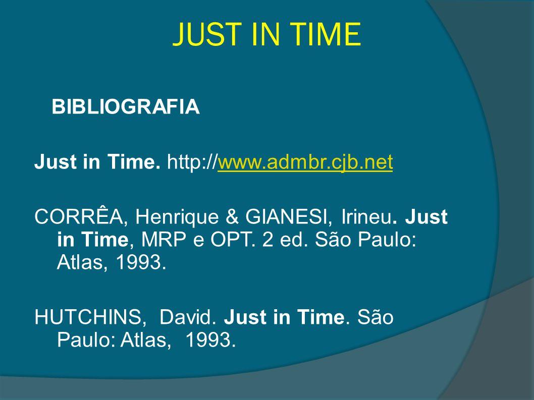 JUST IN TIME BIBLIOGRAFIA Just in Time. http://www.admbr.cjb.netwww.admbr.cjb.net CORRÊA, Henrique & GIANESI, Irineu. Just in Time, MRP e OPT. 2 ed. S