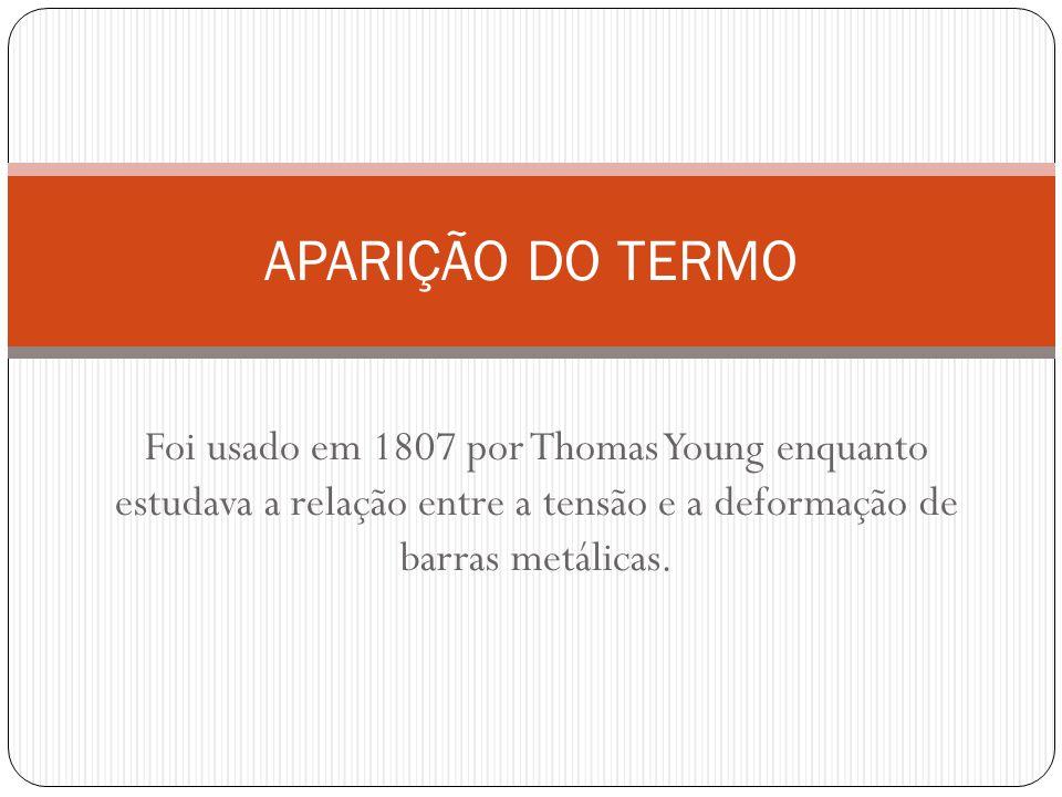 Foi usado em 1807 por Thomas Young enquanto estudava a relação entre a tensão e a deformação de barras metálicas. APARIÇÃO DO TERMO