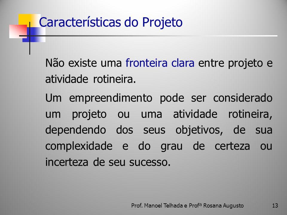 13 Características do Projeto Não existe uma fronteira clara entre projeto e atividade rotineira. Um empreendimento pode ser considerado um projeto ou