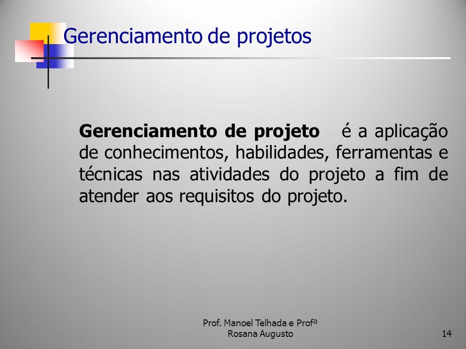 Gerenciamento de projetos Gerenciamento de projeto é a aplicação de conhecimentos, habilidades, ferramentas e técnicas nas atividades do projeto a fim