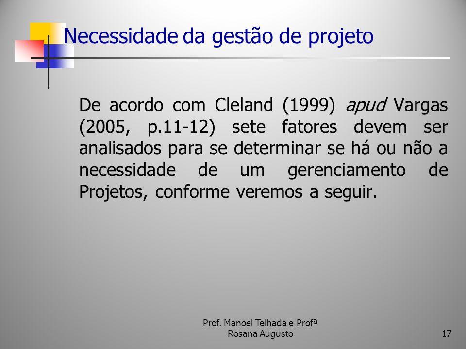 Necessidade da gestão de projeto De acordo com Cleland (1999) apud Vargas (2005, p.11-12) sete fatores devem ser analisados para se determinar se há o