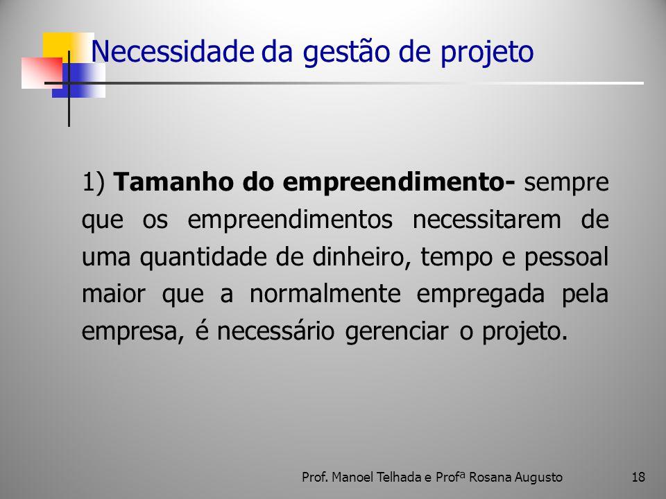 18 Necessidade da gestão de projeto 1) Tamanho do empreendimento- sempre que os empreendimentos necessitarem de uma quantidade de dinheiro, tempo e pe