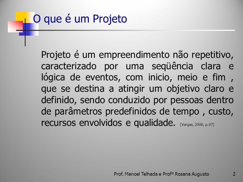O que é um Projeto Projeto é um empreendimento não repetitivo, caracterizado por uma seqüência clara e lógica de eventos, com inicio, meio e fim, que