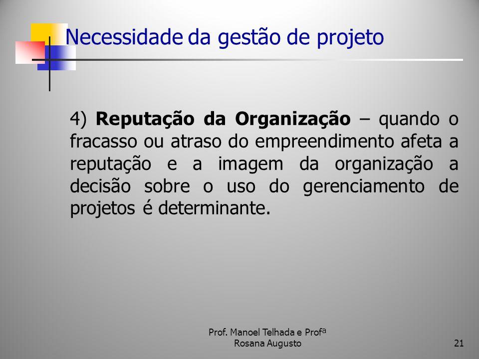 Necessidade da gestão de projeto 4) Reputação da Organização – quando o fracasso ou atraso do empreendimento afeta a reputação e a imagem da organizaç