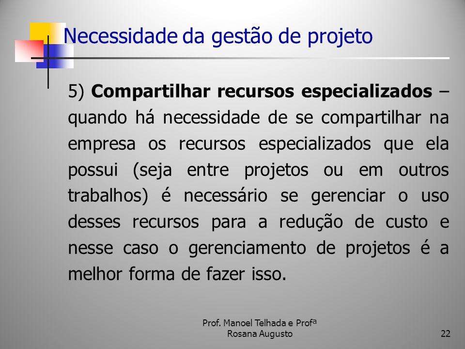 Necessidade da gestão de projeto 5) Compartilhar recursos especializados – quando há necessidade de se compartilhar na empresa os recursos especializa