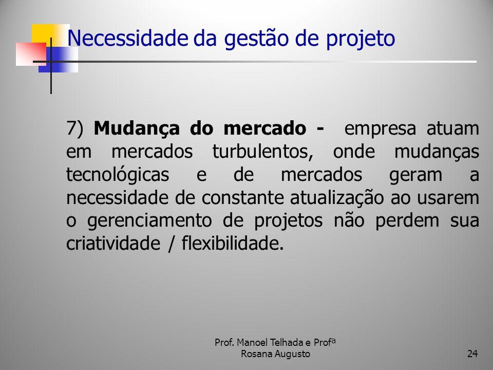 Necessidade da gestão de projeto 7) Mudança do mercado - empresa atuam em mercados turbulentos, onde mudanças tecnológicas e de mercados geram a neces
